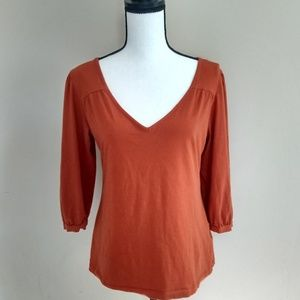 Burnt Orange V Neck Top